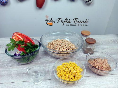 Salata de fasole boabe cu ton reteta gina bradea 2 500x376 - Salata de fasole cu ton si porumb