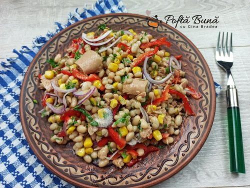 Salata de fasole boabe cu ton reteta gina bradea 6 500x376 - Salata de fasole cu ton si porumb