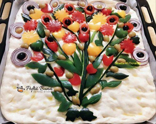 focaccia buchet flori reteta italiana 3 500x398 - Focaccia Buchet de flori