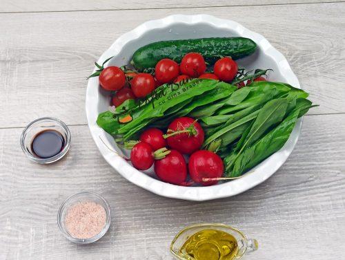 Salata de leurda cu rosii ridichi si castraveti reteta gina bradea 1 500x376 - Salata de leurda cu rosii, ridichi si castraveti