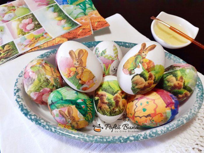 Oua vopsite cu tehnica servetelului