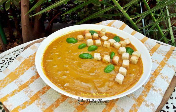 Supa crema de cartofi dulci si linte
