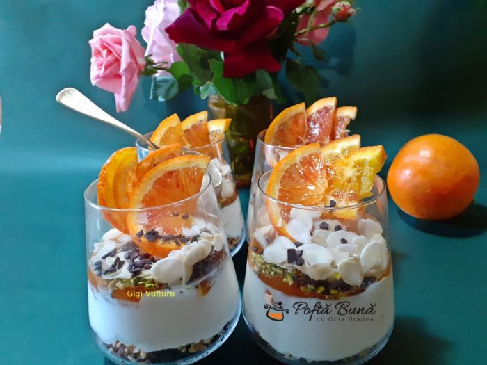 Cheesecake cu portocale la pahar