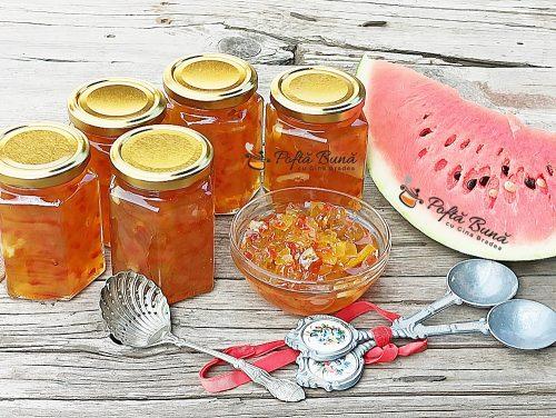 Dulceata dic coji de pepene rosu reteta de fructe confiate gina bradea 3 500x376 - Dulceata din coji de pepene rosu