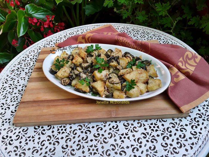 Cartofi cu dovlecei gratinati la cuptor