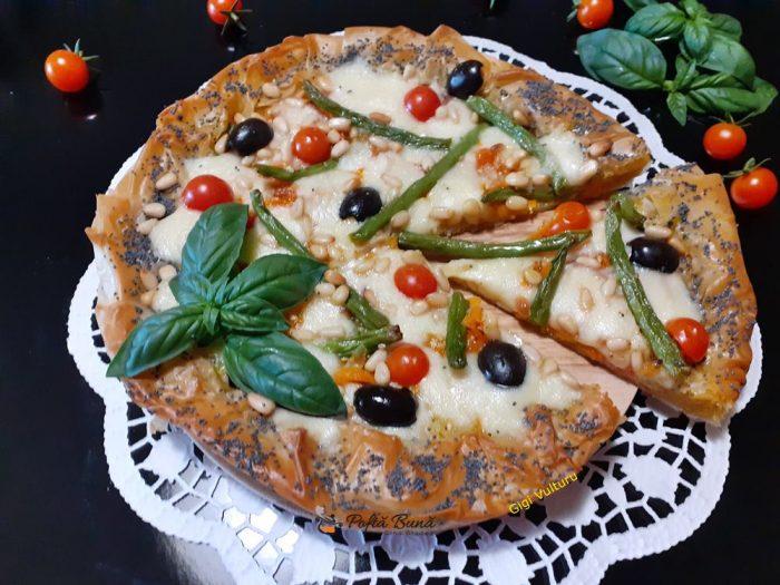 Tarta din foi de placinta cu legume si mozzarella