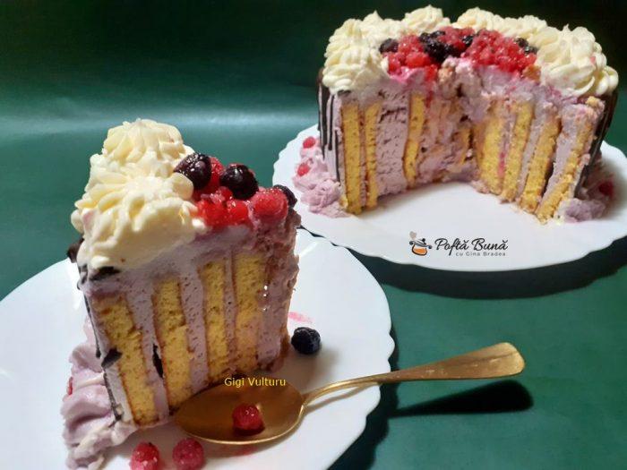 Tort spirala cu crema de fructe de padure